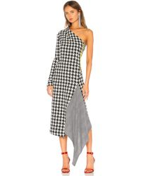 Off-White c/o Virgil Abloh - Asymmetric Houndstooth Wool-blend Dress - Lyst