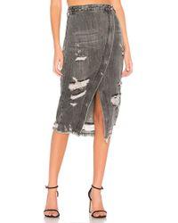 One Teaspoon - Distressed Denim Skirt - Lyst