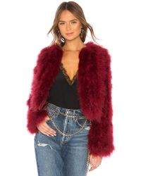 Rebecca Minkoff - Pacha Feather Jacket In Wine - Lyst