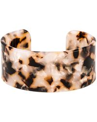 Shashi - Emma Large Lucite Cuff Bracelet In Brown. - Lyst