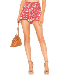 Free People - Flirting Fleurs Mini Skort In Red - Lyst