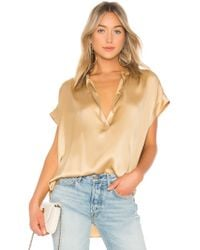 Vince - Shirred Neck Blouse - Lyst
