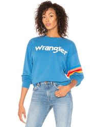 Wrangler - Stripe Kabel Sweatshirt In Teal - Lyst