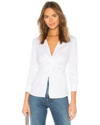 Bailey 44 - Tallula Twist Front Shirt In White - Lyst