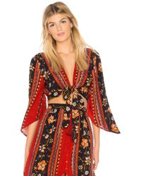 Band Of Gypsies - Bohemian Tie Front Blouse In Rust - Lyst