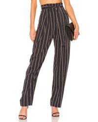 Vince - Belted Stripe Wide Leg Pant In Navy - Lyst