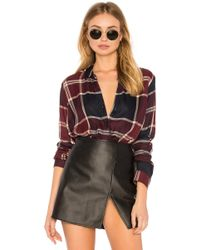 BCBGeneration - Wrap Hem Long Sleeve Shirt In Maroon Multi - Lyst