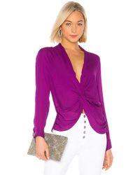 L'Agence - Blusa mariposa en color morado - Lyst