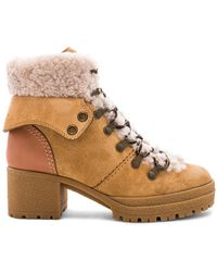 See By Chloé - Shearling Lace Up Bootie In Beige - Lyst