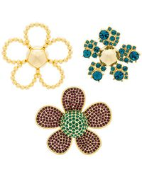 Marc Jacobs - Daisy Pave Brooch Set In Metallic Gold. - Lyst