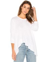 Wilt - Wrap Around Ruffle Crew In White - Lyst