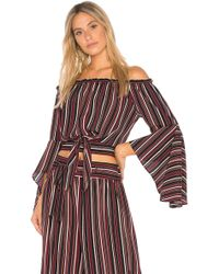 Band Of Gypsies - Pinstripe Tie Front Top - Lyst