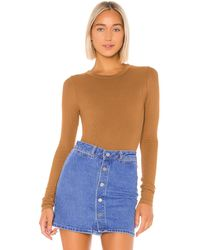 Enza Costa Rib Fitted Long Sleeve V Neck - Brown