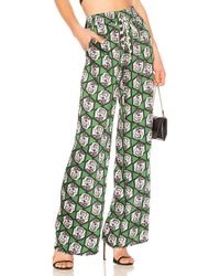 MILLY - Hexagon Floral Print Pant In Green - Lyst