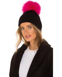 Jocelyn - Knit Hat With Fox Fur Pom In Pink. - Lyst