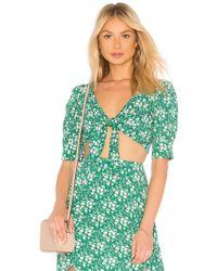 For Love & Lemons - Zamira Floral Crop Top In Green - Lyst