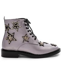 COACH - Watts Lace Up Boot In Metallic Silver - Lyst