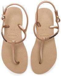 1125ba749 Lyst - Havaianas Freedom T- Strap Sandals in Metallic