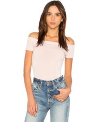 BCBGeneration - Off The Shoulder Bodysuit In Rose Smoke - Lyst