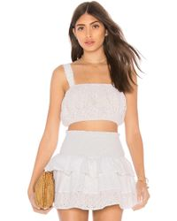Lolli - X Revolve Ruth Eyelet Cropped Tank In White - Lyst