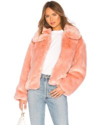Pam & Gela - Boxy Faux Fur Coat In Pink - Lyst