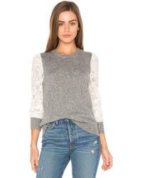 Rebecca Taylor - Lace Sleeve Pullover In Grey - Lyst