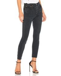 RE/DONE - Originals High Rise Ankle Crop With Stretch In Black - Lyst