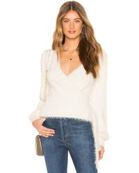 Cupcakes And Cashmere - Gigi Fluffy Wrap Jumper In Cream - Lyst