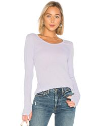 Michael Stars - Long Sleeve Scoop Neck Tee With Thumb Holes In Lavender. - Lyst
