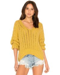 Free People - Infinite V Neck Sweater In Mustard - Lyst
