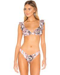 Maaji - Top bikini frills en color rosado - Lyst