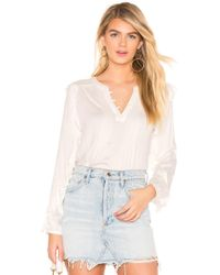 Chaser - Ruffle Sleeve Pintuck Top In White - Lyst