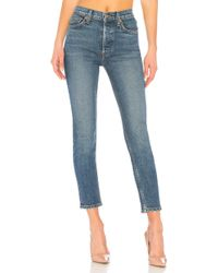 RE/DONE - Originals High Rise Ankle Crop In Blue - Lyst