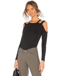 Chaser - Vintage Rib Strappy Open Shoulder Tee In Black - Lyst