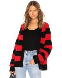 T By Alexander Wang - Rugby Stripe Cardigan In Red - Lyst