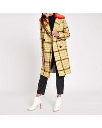 River Island - Check Faux Fur Collar Coat - Lyst