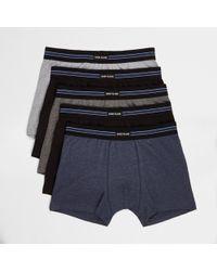 River Island - Grey Ri Branded Trunks Multipack - Lyst
