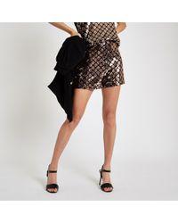 River Island - Copper Sequin Embellished Shorts - Lyst