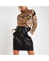 River Island - Paperbag D-ring Mini Skirt - Lyst
