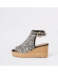 River Island - Leopard Print Wedge Sandals - Lyst