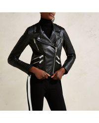River Island - Black Ri Studio Leather Quilted Biker Jacket - Lyst