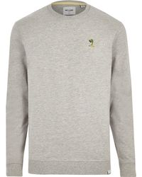 River Island - Grey Only & Sons Embroidered Sweatshirt - Lyst
