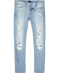 River Island - Light Blue Wash Extreme Rips Skinny Sid Jeans - Lyst