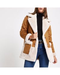 River Island - Light Brown Faux Suede Coat - Lyst