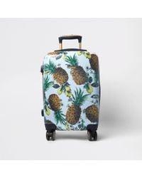 River Island - Blue Pineapple Plastic Four Wheel Suitcase - Lyst