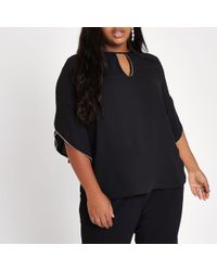 River Island - Plus Beaded Frill Sleeve Blouse - Lyst