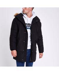 River Island - Longline Faux Fur Hooded Parka Jacket - Lyst