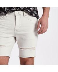 River Island - Cream Slim Fit Ripped Denim Shorts - Lyst