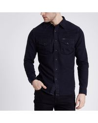 River Island - Lee Black Slim Fit Denim Western Shirt - Lyst