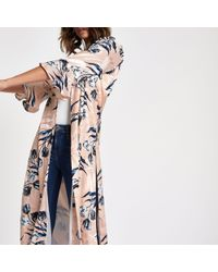 River Island - Floral Jacquard Flute Sleeve Duster Coat - Lyst